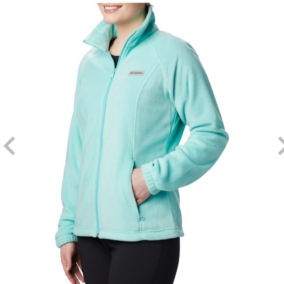 "NWT Women/'s Columbia ""Benton Springs/"" Full Zip Blue Fleece Jacket Size Large"